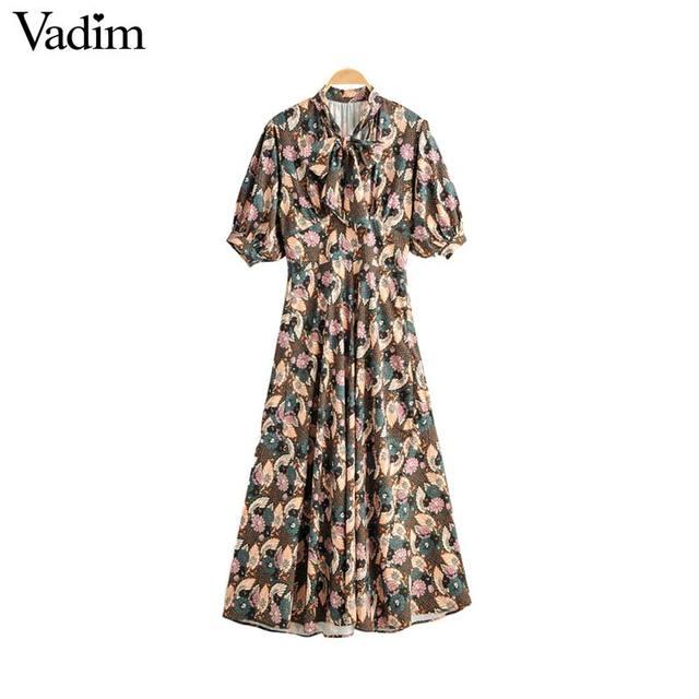 Vadim women retro bow tie collar maxi dress floral pattern short sleeve side zipper female fashion casual dresses vestidos QD088