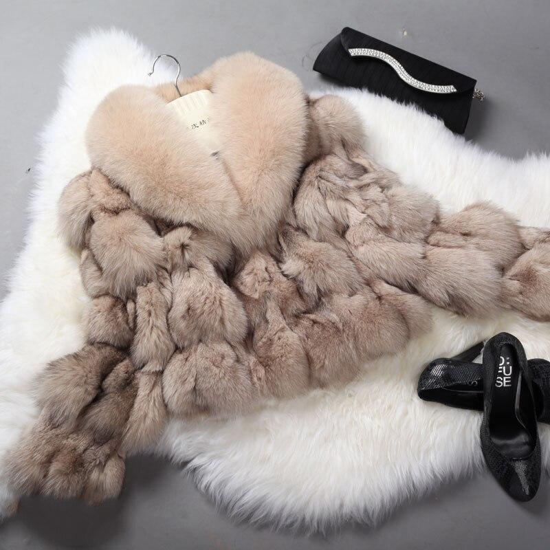Manteau de fourrure véritable pour les femmes manteau de fourrure de renard rayé grand col de renard veste de fourrure naturelle rf0046