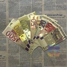 7 Pçs/lote Cor 24K Ouro Conjunto 5.10.20.50.100.200.500 Da Folha de Ouro de Notas de Euro Dinheiro Para O Natal E Presentes do Negócio