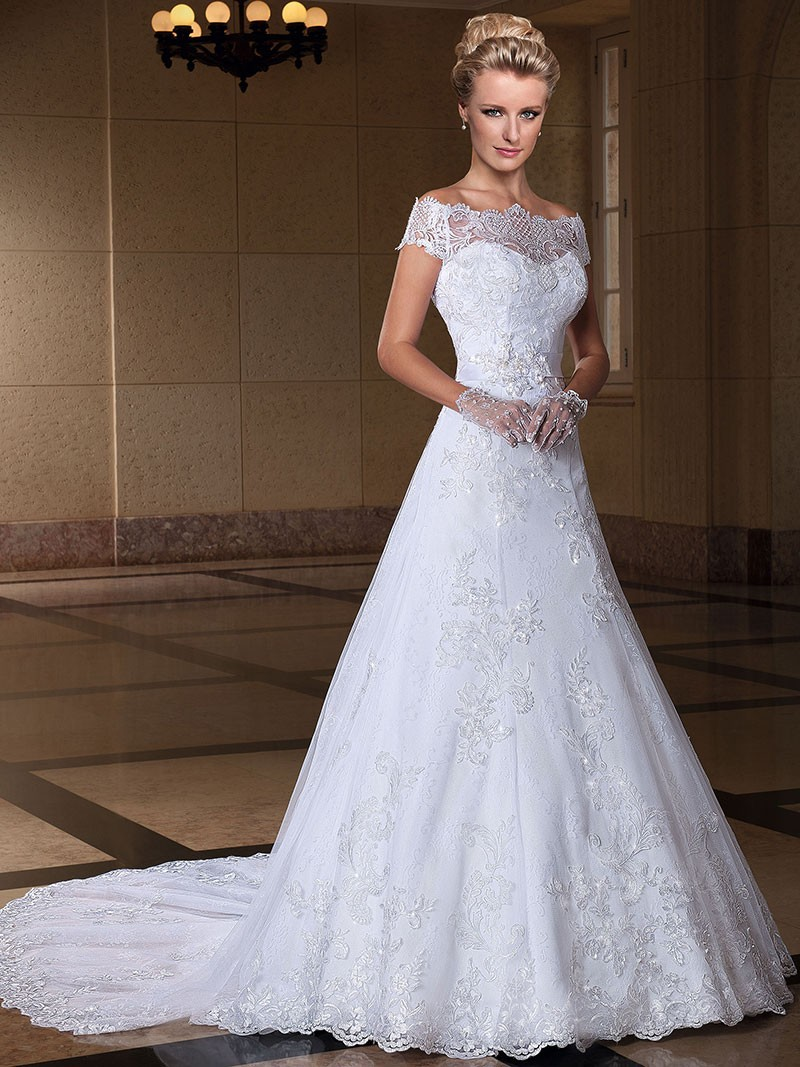New Elegant A-line Quality Lace Detachable Train Off The Shoulder Wedding Dress