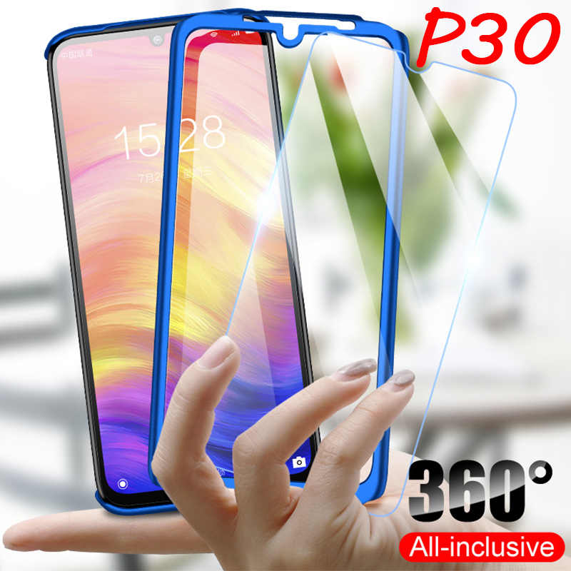 360 Phone Case for Huawei P30 Lite P20 Pro Case with Tempered Glass for Huawei Mate 20 Lite P Smart 2019 Nova 4 4E Y6 Y7 Y9 Capa
