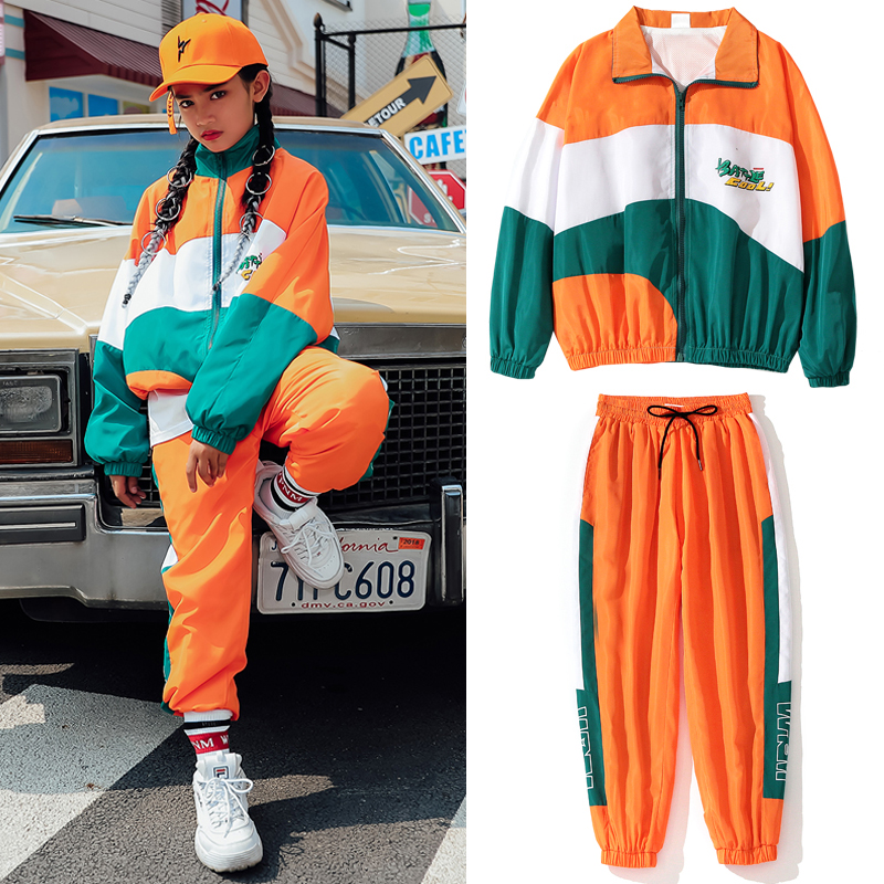 Spring New Hip-hop Dance Clothing For Girls Children's Jazz Street Dance Wear Loose Jacket Hiphop Pants Stage Outfits DQS3834