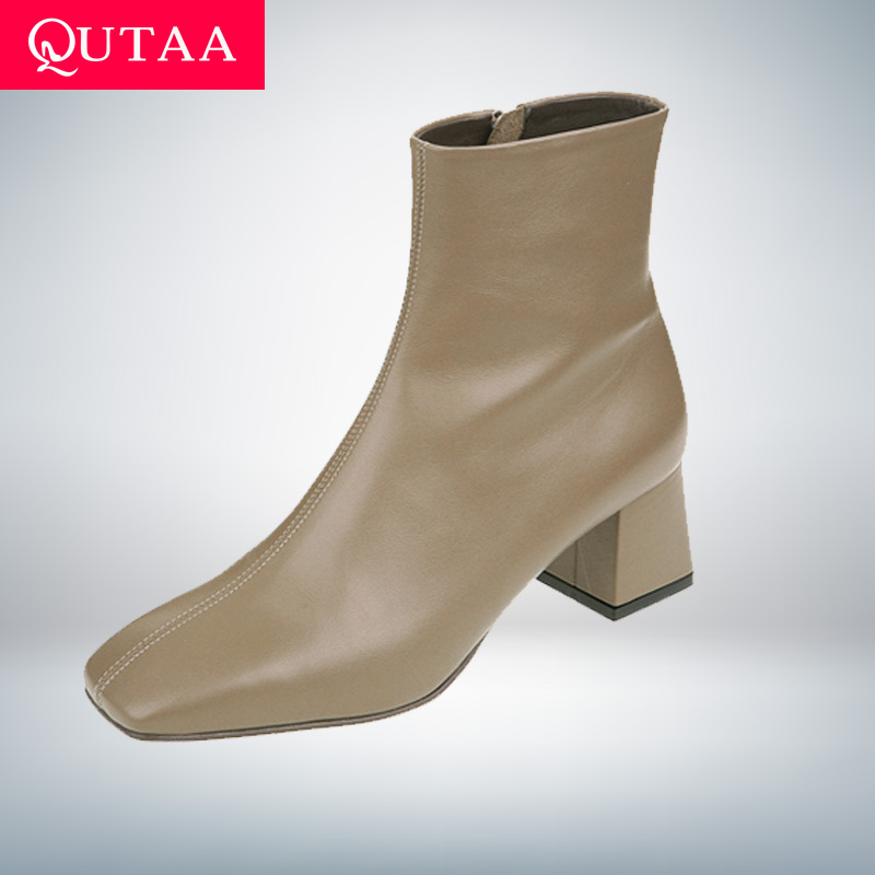 QUTAA 2020 New Autumn Winter Genuine Leather Retro Square Toe Zipper Ankle Boots Square Heel All Match Women Shoes Size 34 39|Ankle Boots| - AliExpress