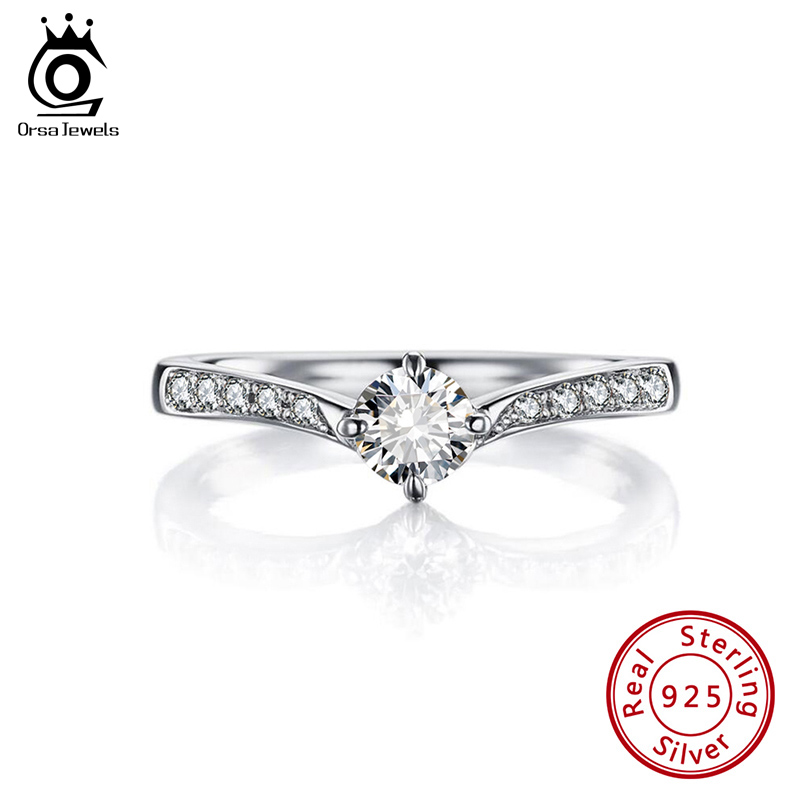 ORSA JEWELS S925 Women Zircon Shining Rings Pure Sterling Silver Marriage Engagement Ring Valentine's Day Gift Jewelry SR194