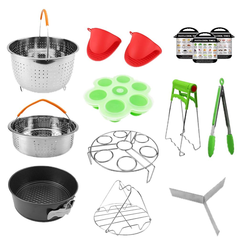 14PCS Eggs Rack Air Fryer Oven Mitts Kitchen Home Non Stick Steamer Basket Pressure Cooker Accessories Set Mold Multipurpose