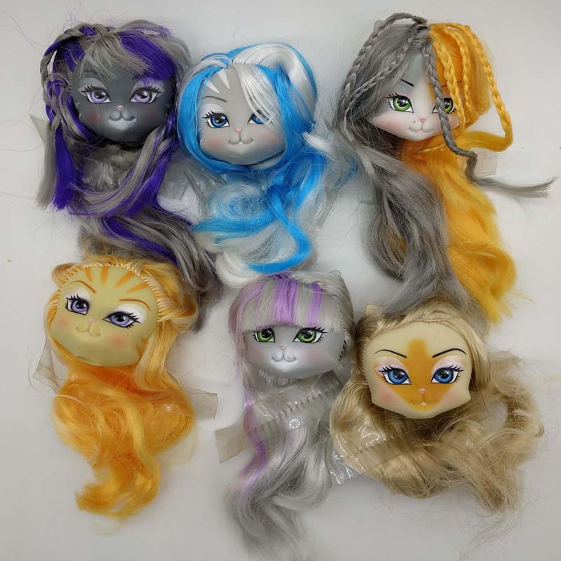 Catwalk Kitty Doll Head with hair compatible for 1/12 scale Monsters Highs Bjd Doll toy model accessory