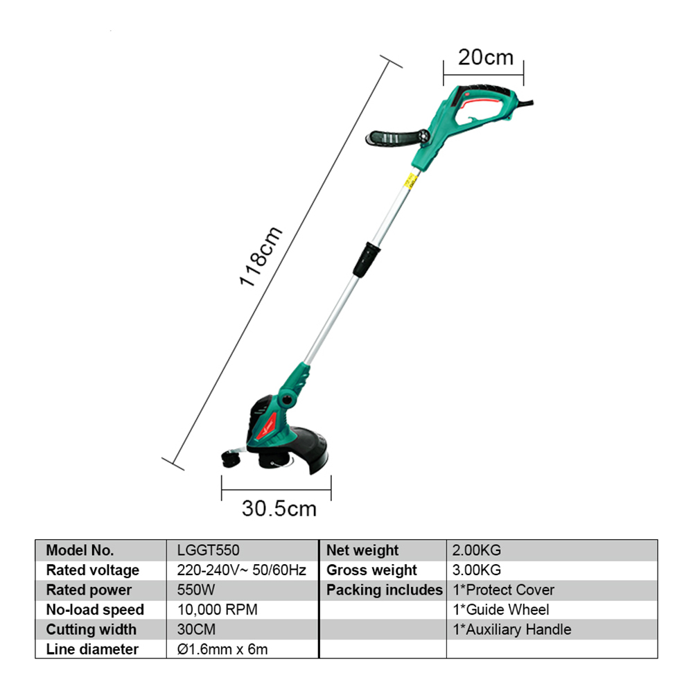 Shaft Lectric Garden Cutter Trimmer Tool Rotation Ajustable Sale Tube Line 550W Machine Cleaner Trimmer Grass Clearance Grass