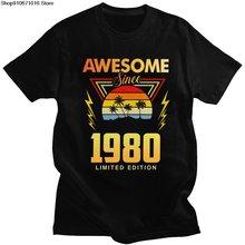 Классическая удивительная с 1980 года футболка мужская коротким