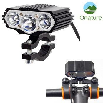 Onature Powerful Electric Bike Light 1000 Lumens 12-72V Input E Headlight Aluminum Housing 3xT6 LED Head for eBikes