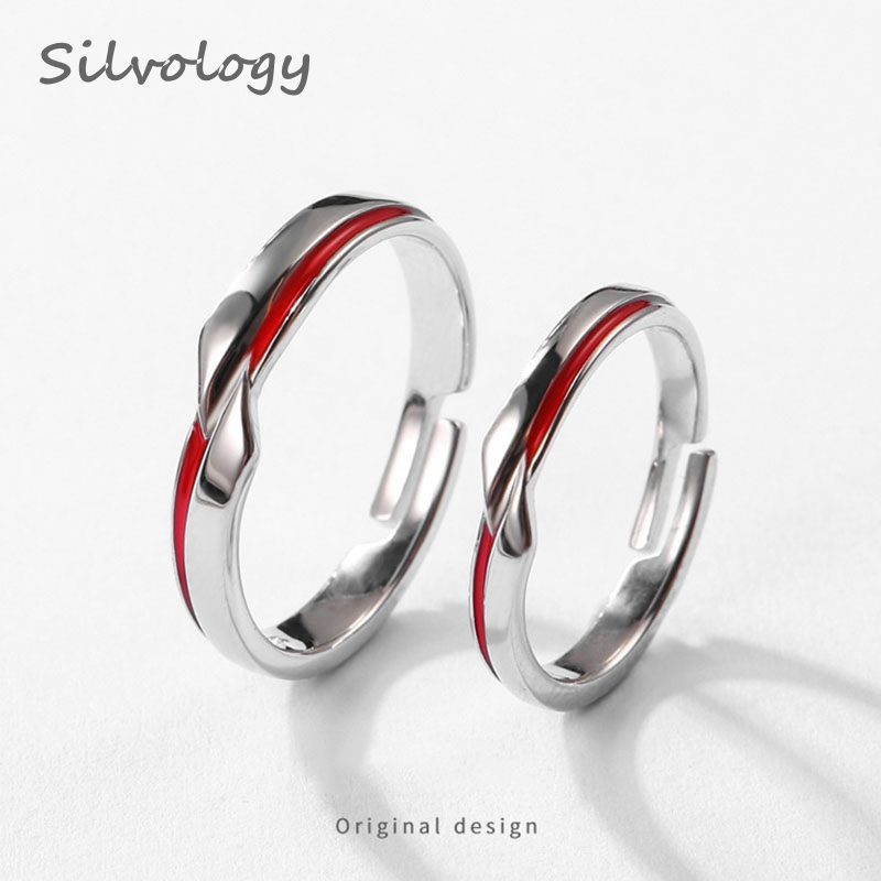 Silvology 925 Sterling Silver Red Line Couple Rings Original Designer Elegant Romantic Rings For Women Festival Lovers Jewelry