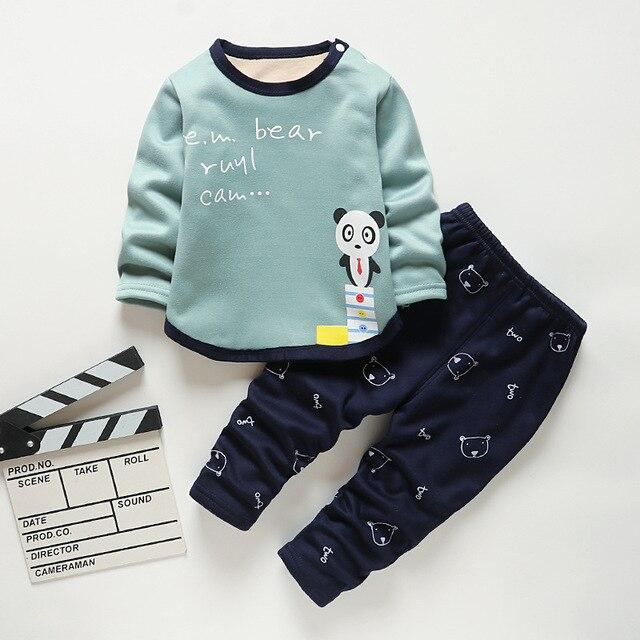Baby Kids Pajamas Sets Boys Sleepwear Suit Autumn Winter Warm Girls Long Sleeve Pijamas Tops+Pants 2pcs Children Clothing 4