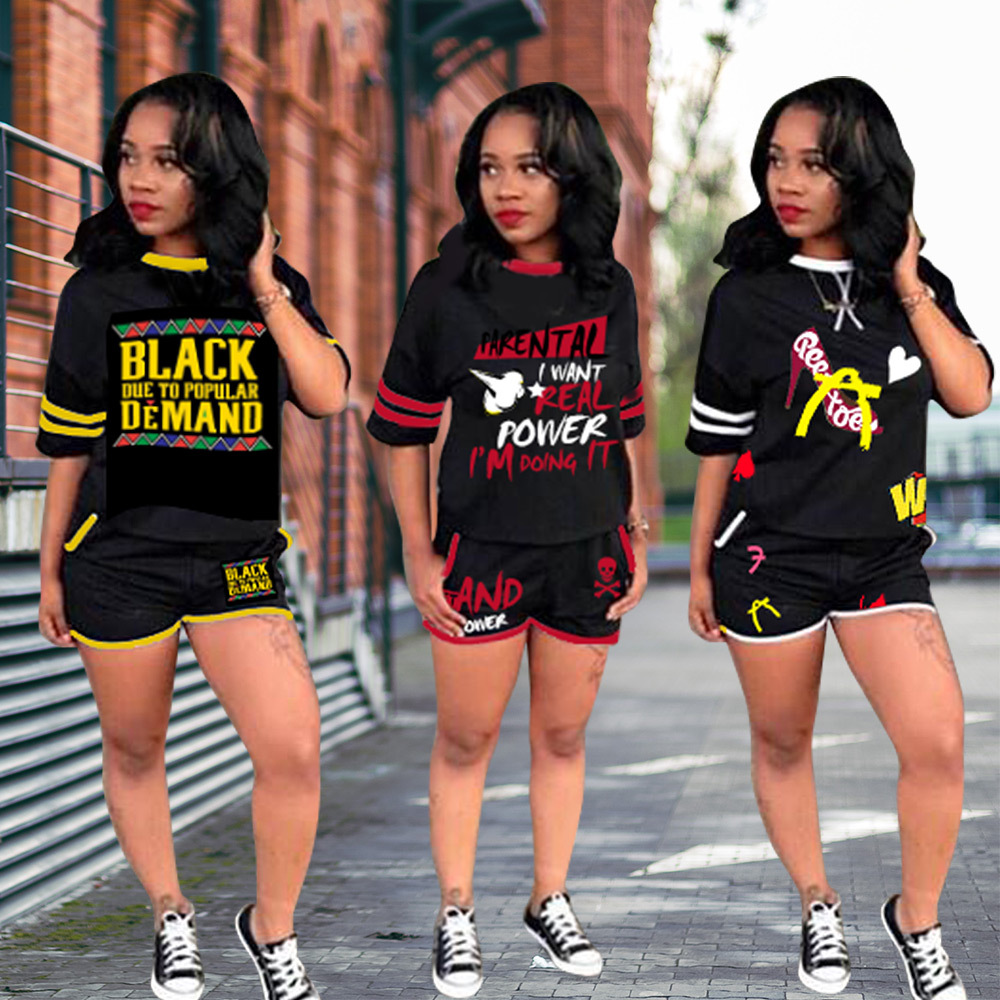 2019 European And American Fashion Graffiti Color Matching Letters Short-sleeved Shorts Two-piece