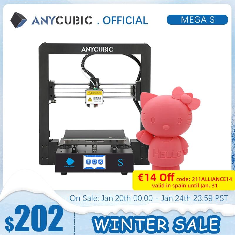 3D-принтер ANYCUBIC Mega-S Mega S I3 Mega Upgrade, большой размер, высокоточный сенсорный экран из ТПУ, набор для сборки, 3D-принтер
