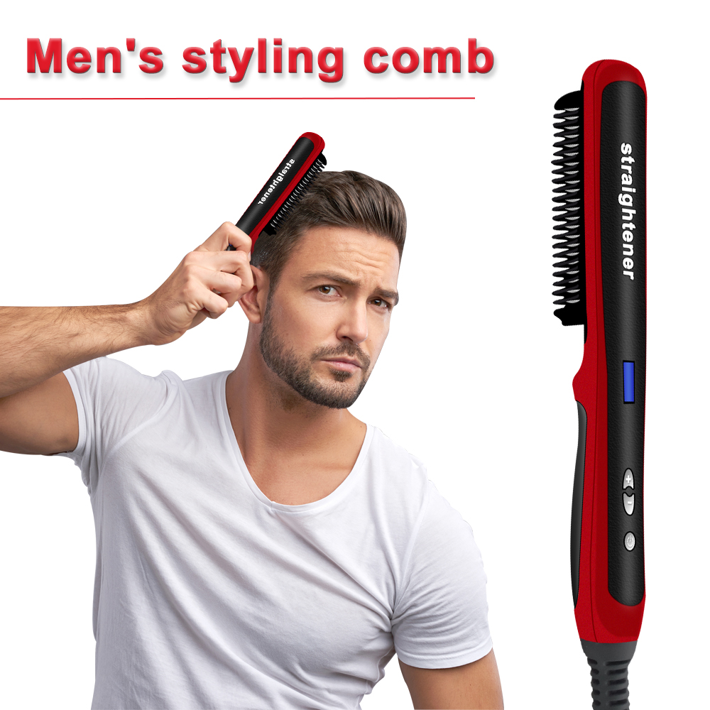 Beard Straightener Hair Comb Brush Beard Styling Hair Straightening Comb Hair Curler Men Hair Styler Combs Heating Combs