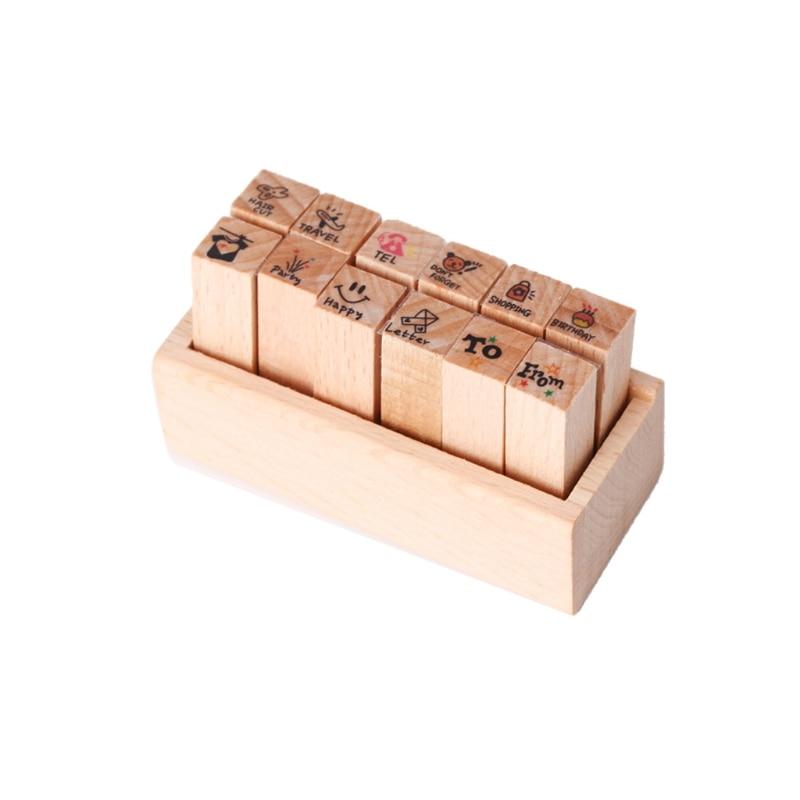 Купить с кэшбэком 12pcs DIY Cute Cartoon Wooden Rubber Stamp Seal Box Diary Scrapbook Drawing Art