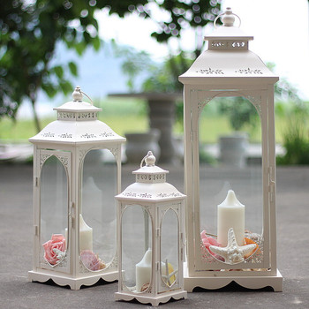 Hanging Windproof Candle Holder White Glass Vintage Wedding Outdoor Candle Holder Hollow Out Morocco Romantic Home Decor MM60ZT