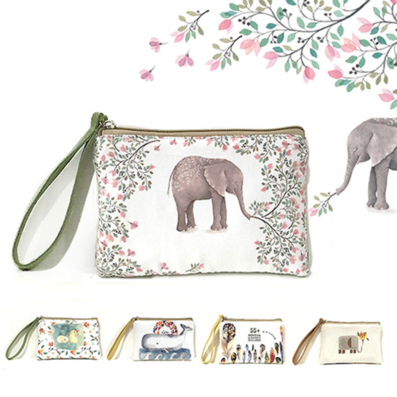 Pouches Women Mini Cute Elephant Elk Whale Cat Printed Coin Purse Phone Money Bag Handbag Women Small Wallet Pocket Travel Purse