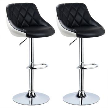 2Pcs Bar Chair Leisure Leather Swivel Bar Stools Chairs Height Adjustable Pneumatic Pub Chair Kitchen Chair Ship to Europe HWC