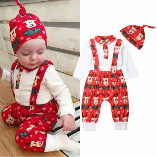 Newborn Baby Boy Girl Christmas Elf Romper Jumpsuit+Striped Hat Outfits Clothes