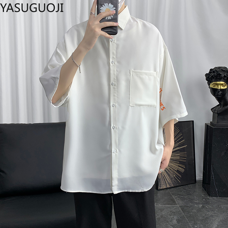 YASUGUOJI Summer <font><b>Men</b></font> Solid <font><b>Oversize</b></font> Loose <font><b>Shirts</b></font> Fashion <font><b>Korean</b></font> <font><b>Style</b></font> Ins Basic Loose Couples Simple <font><b>Mens</b></font> <font><b>Shirt</b></font> Chic Streetwear image