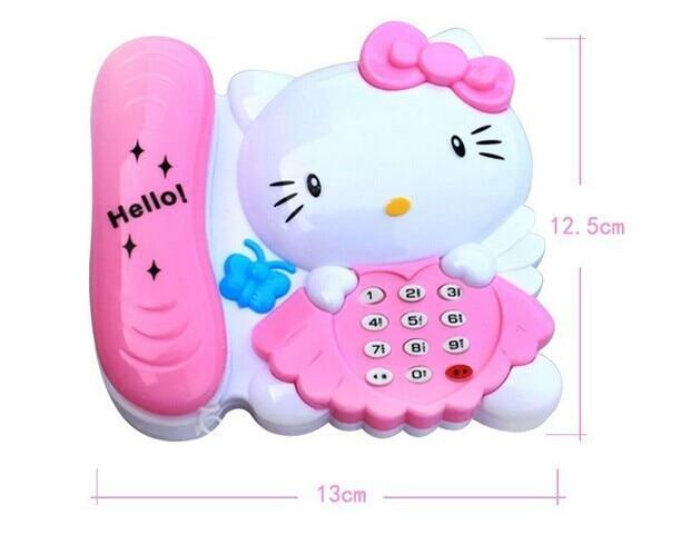 Cute KT Cat Phone Music Light Phone Electric Educational Toy Children Music Phone