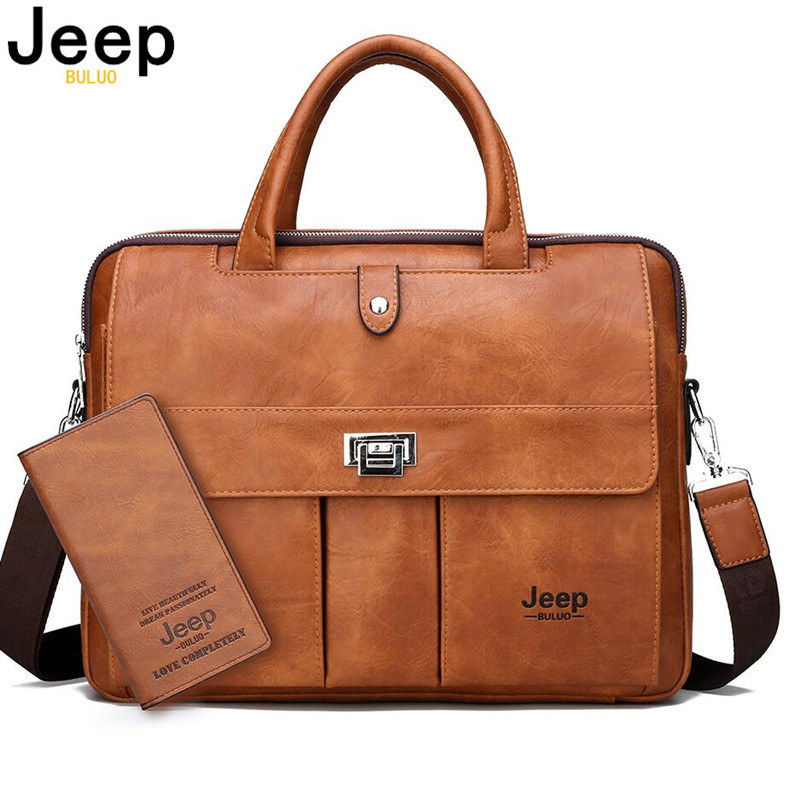 JEEP BULUO Man Briefcase Big Size 15 Inches Laptop Bags Business Travel Handbag Office Business Male Bag For A4 Files Tote Bag