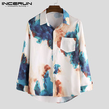 INCERUN Men Shirt Printed Lapel 2020 Casual Breathable Long Sleeve Button Loose
