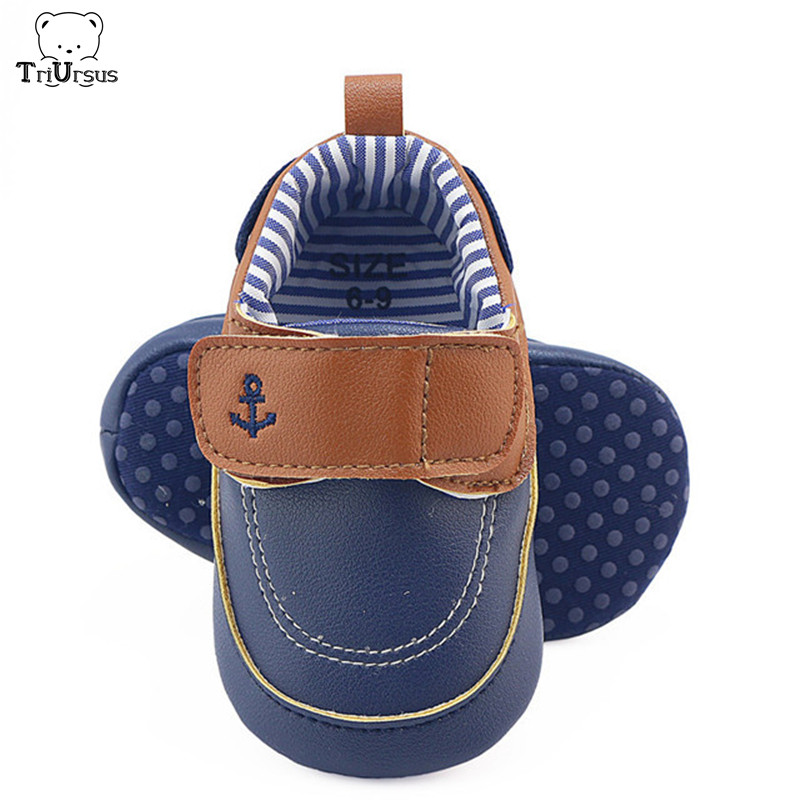 Newborn Infant Toddler Baby Boys Casual Shoes Soft Sole Boat Anchor Prewingker PU Leather Baby Boys Winter Shoes