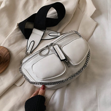 Wide Shoulder Belt Crossbody Bags For Women 2021 Chain Designer Shoulder Messenger Handbags Solid Color Design Hand Bag