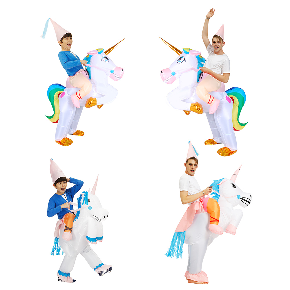 Unicorn Inflatable Costume Unisex Adult Riding Horse Halloween Cosplay Carnival Christmas Fance Dress  Men Purim Animal Mascot