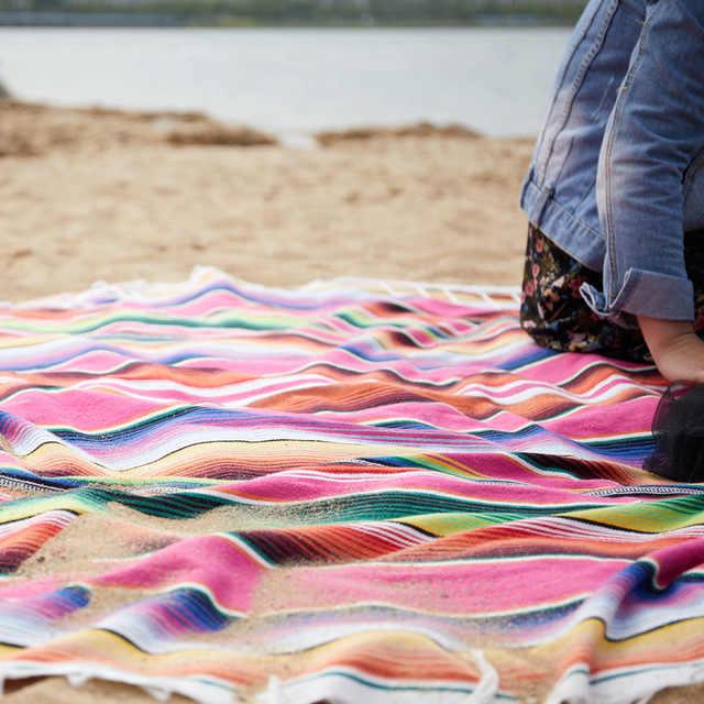 코튼 소파 비치 담요 멕시코 수제 다채로운 담요 홈 태피스 트리 비치 캠핑 피크닉 여행 비행기 매트