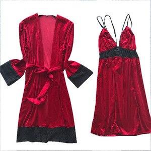 Image 5 - 2019 Otoño Invierno mujer traje de terciopelo y vestido conjuntos dormir salón Pijama señoras Albornoz + vestido de noche con pecho almohadillas
