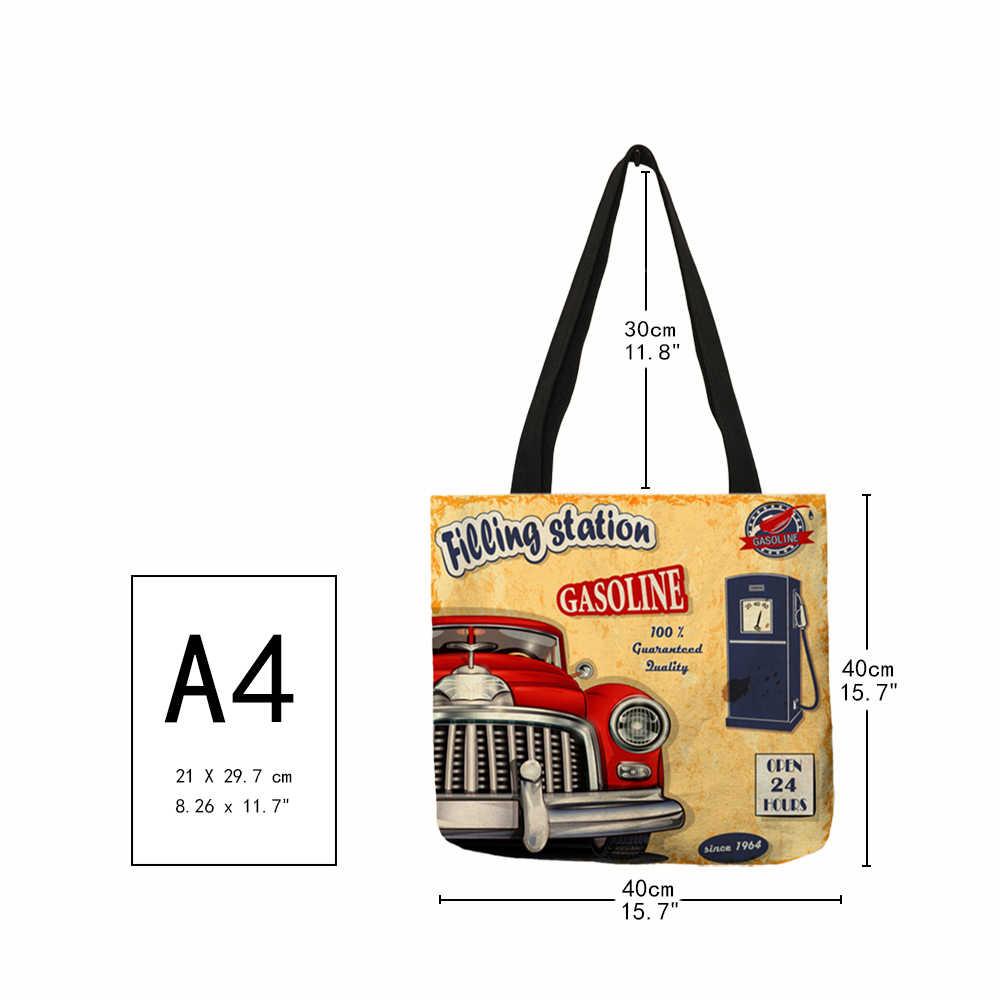 Модная крутая женская сумка на плечо, гавайская, с принтом в виде машины, гаража, сумка из эко-льна, для девушек, для шопинга, школы, многоразовые сумки