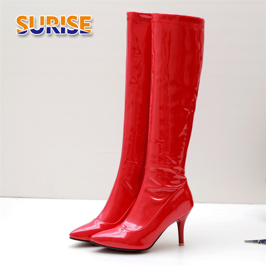 Winter Autumn Women Knee-high Boots 8cm Thin Spike High Heels Red Patent Leather Party Club Pointed Toe Zipper Riding Long Boots