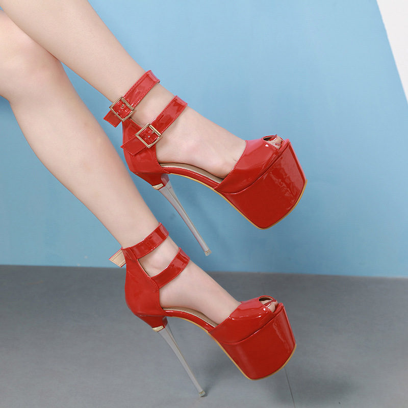 2020 Summer Women Sexy Extreme Thin High Heels Sandals Red Black Peep Toe Platform Sandals Ankle Stripper Heels Club Party Shoes
