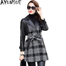 AYUNSUE Leather Jacket Autumn Winter Coat Women Genuine Sheepskin Coat Female Tweed Woolen Coats Windbreaker Chaqueta Mujer MY(China)