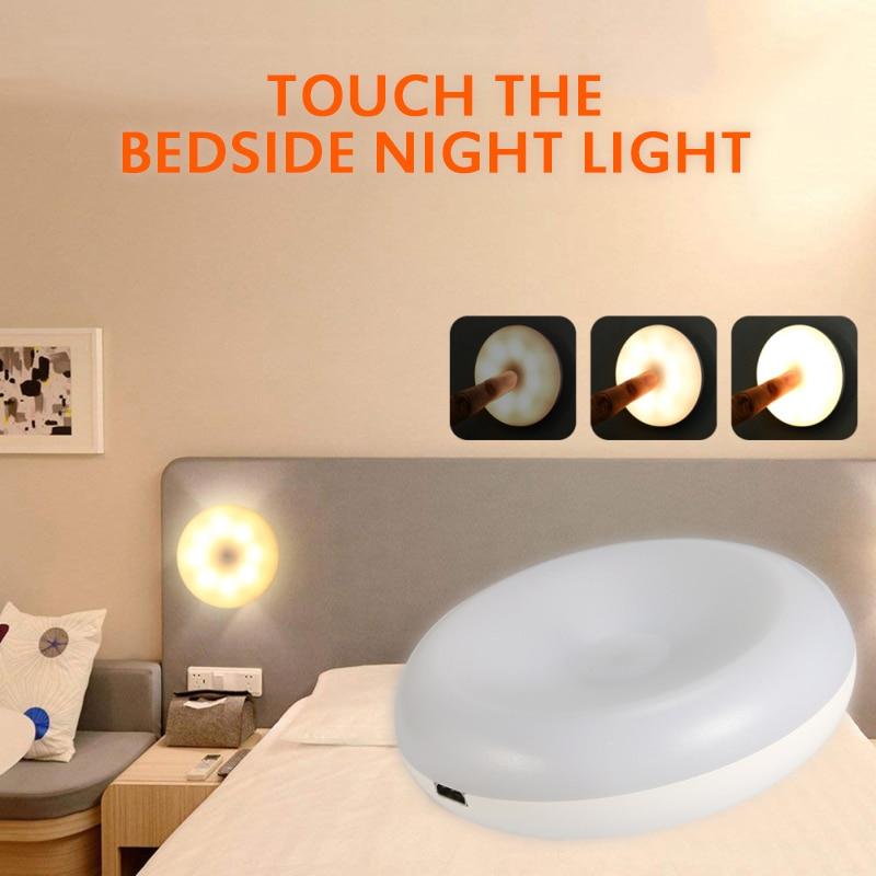 Portátil mini led toque luz da noite