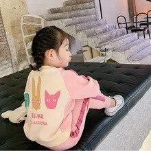 2020 ربيع جديد وصول الفتيات الكرتون 2 قطع دعوى الاطفال رسالة مجموعات ملابس الاطفال