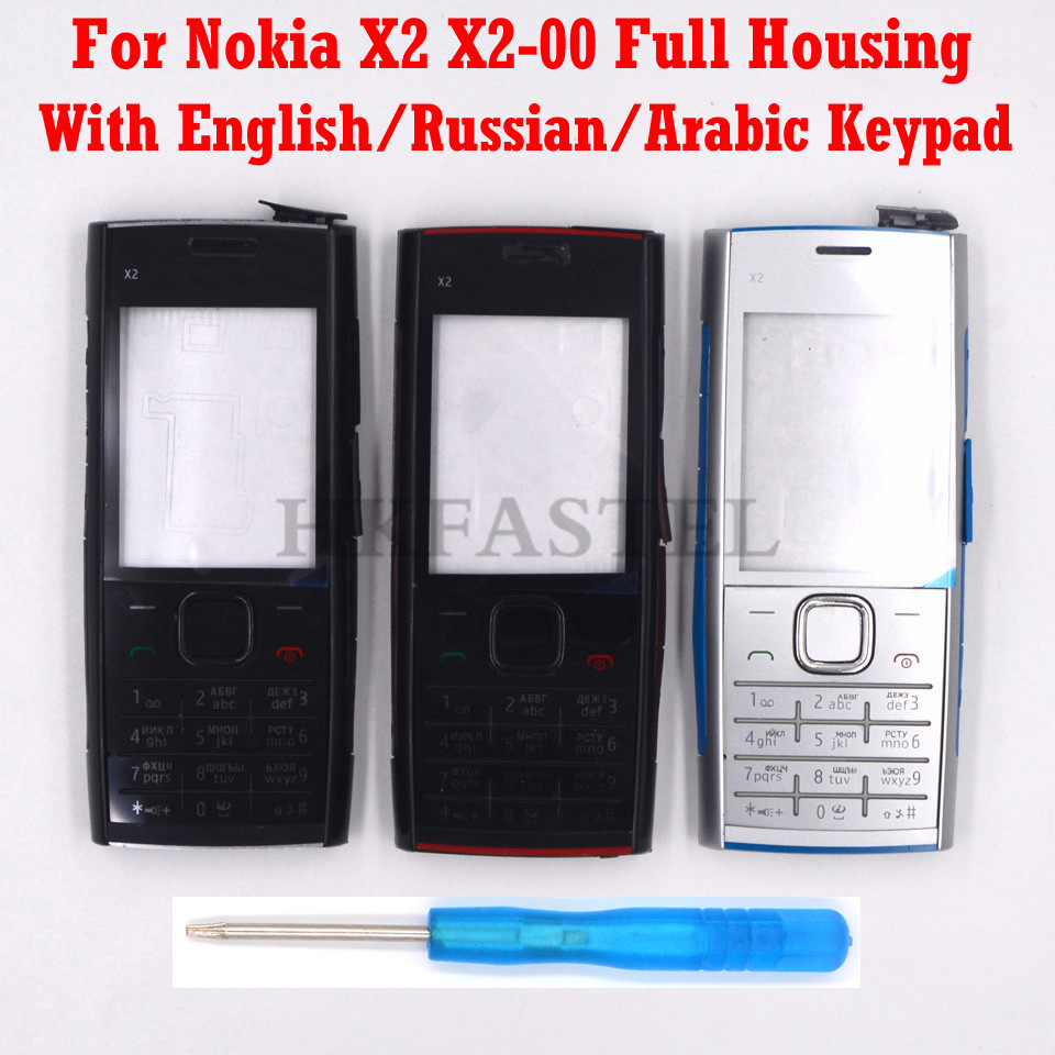 For Nokia X2 X2-00 New Full Complete Mobile Phone Housing Cover Case + English/Russian/Arabic Keypad + Tools, Free Shipping