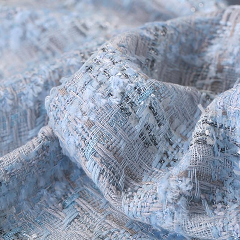 150CM de large 380 G/M poids gris bleu Tweed tricoté laine & coton & Viscose & Polyester tissu pour automne printemps robe veste DE1197