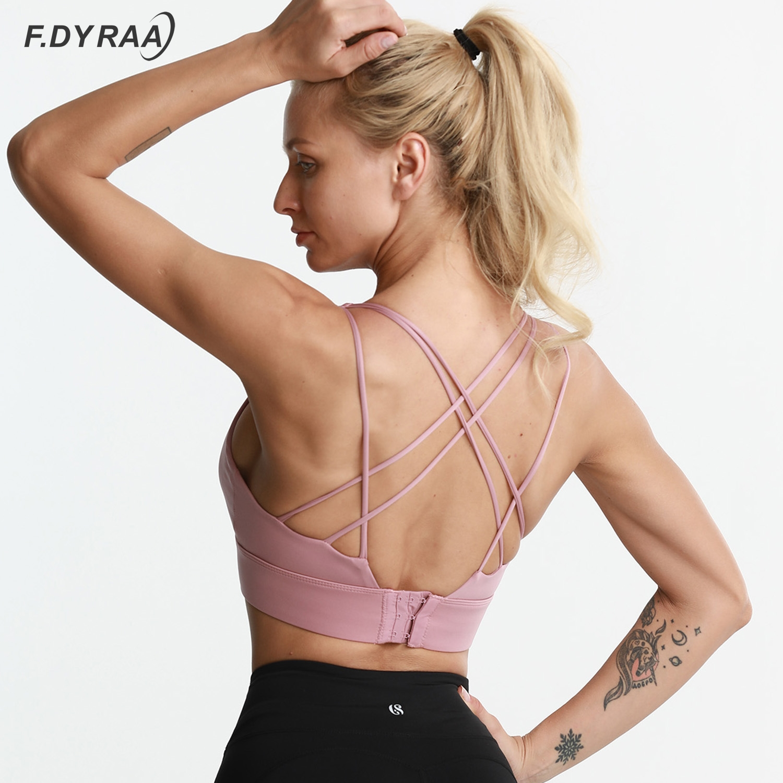 F DYRAA Shockproof Cross Straps Bra Running Gym Sports Bra Top Women Widen Hem Push Up