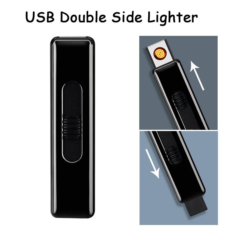 Outdoor EDC USB Electronic Double Side Ignition Cigarette Lighter Light Weight Lighter No Gas Lighter New Plasma Arc Lighter
