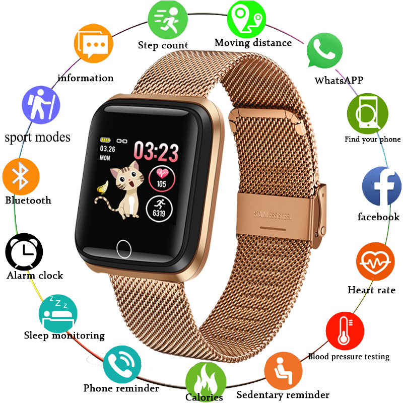 2020 New Smart watch waterproof Tempered glass Activity Fitness tracker Heart rate monitor LIGE Men women smartwatch sport watch