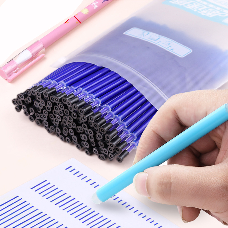 100pcs/bag Magic Erasable Gel Pen Refills Needle 0.5mm Black / Blue Ink Erasable Pens With Eraser Set Office School Supplies