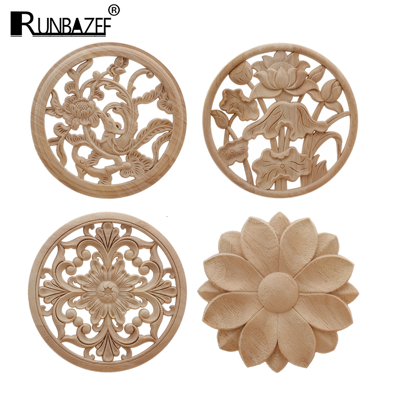 RUNBAZEF  Onlay Wood Applique Decal Corner Home Cabinet Window Unpainted Antique Modern Ornamental European Decoration Wooden