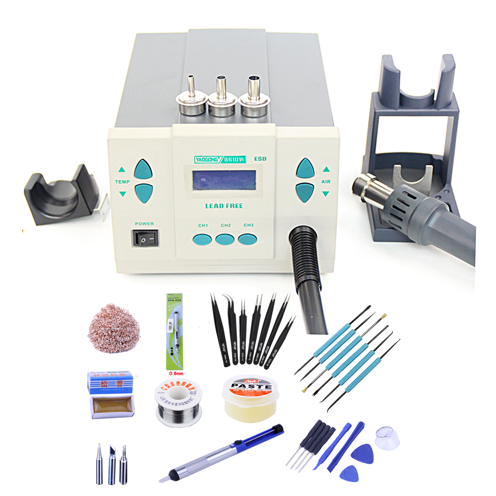 Digital Display Electric Soldering Irons Lead-free Intelligent Hot Air Gun Desoldering Station 1000W Air Volume YAOGONG 861DW