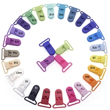 100 шт., 20 цветов, смешанные, горячие, D формы, 25 мм, пластиковые, детские соски, зажим, держатель для новорожденных, Детские пустышки, игрушка нагрудник, цепь, подарок