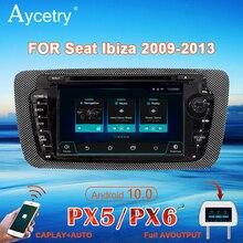 Rádio do carro de px6 2 din android 10 multimídia dvd player autoradio áudio para seat ibiza 6j 2009 2013 2din navegação estéreo gps dsp