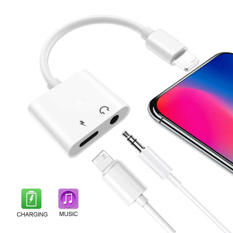 2 In 1 Earphone Audio Charging Adapter Splitter for IPhone 11 Pro XR XS Max X 8 7 Plus Gaming Music Charger Headphone Ear Phones image