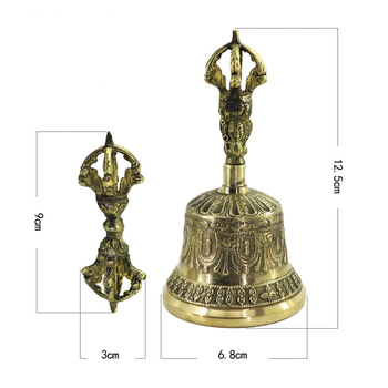 Dinner Handmade Brass Desktop FengShui Prayer Alarm Tea Hand Bell Lucky Loud Call Service Portable Meditation Tibetan Buddhist